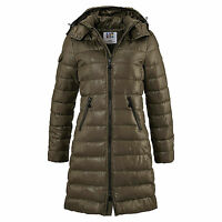 MARKE! WARM DAUNEN-LOOK WINTERMANTEL Gr.36/38 KHAKI MANTEL JACKE STEPPMANTEL