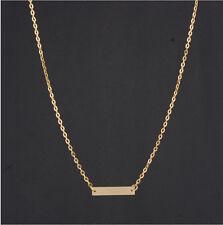 Free P&P Woman Gold Horizontal Stick Noble Simple Bar Bone Pendant Necklace