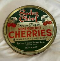 VINTAGE SODUS NY CHIEF MONTMORENCY FRESH FROZEN CHERRIES ADVERTISING TIN LID