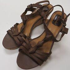 Clarks Womens Wedge Sandals Sz 6.5 6 1/2 Strap Brown