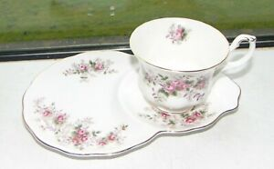 Royal Albert Fine Bone Lavender Rose Pattern Breakfast Tennis Set Cup and Tray