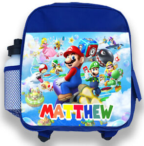 Personalised Kids Blue Backpack Any Name Super Mario Boys Childrens School Bag 1
