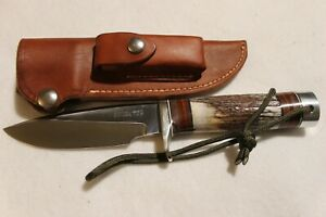 RANDALL MADE MODEL 25 5 INCH TRAPPER KNIFE STAG & LEATHER HANDLE W/ SHEATH #2