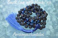 10 mm Black Basalt Lava & Blue Tiger Eye Knotted Mala Beads Necklace
