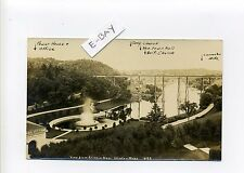 Clinton MA Mass RPPC real photo Railroad Viaduct, old postcard, msg about view