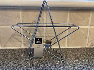 Brand New George Home Silver metal Star Shape Tealight Holder