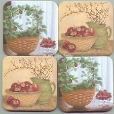 Free Ship Longaberger Strawberry Topiary Apples in Bowl Coasters purple stripe
