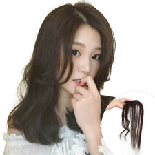 Mono Middle Part with Wavy Hair Fringe Clip on Human Hairpieces Topper for Women