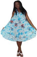 Tye It Up Women's Long Embroidered Sleeveless Marbled Tye Dye Dress Palm Blue
