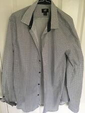 H&M mans long sleeved shirt navy blue and white check. Size L
