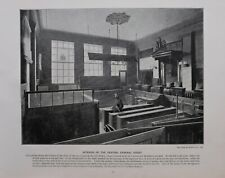 1896 LONDON PRINT + TEXT INTERIOR OF THE CENTRAL CRIMINAL COURT OLD BAILEY