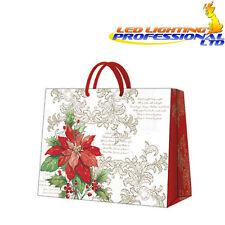 Navidad papel impreso Regalo presente Bolso Elegante Poinsettia Horizontal Flor