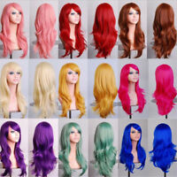 Womens Long Hair Wig Curly Wavy Synthetic Anime Cosplay Party Full Wigs Hot