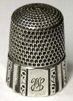 """Antique Simons Bros Sterling Silver Thimble  """"Fluted Octagon""""  """"L L WS"""" Monogram"""