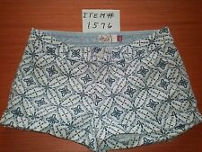 JUNIOR'S SO HERITAGE WHITE/BLUE GEO PATTERN LOW RISE SHORTS SIZE 5 ITEM # 1576