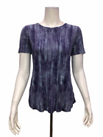 Lisa Rinna Collection Women's Printed Knit Top with Back Detail Blue Small Size