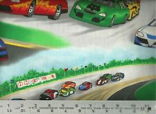 Cranston VIP ~ Nascar Type Stock Car Race Track ~ 100% Cotton Quilt Fabric BTY