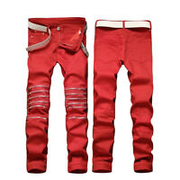 Men Red Slim Ripped Jeans Pants Biker Classic Skinny Straight Denim Trousers