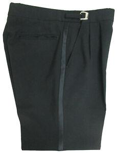 "Men's Black Tuxedo Pants 100% Worsted Wool Wedding Prom 30-32"" Adjustable Waist"