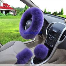 3Pcs Long Plush Warm Steering Wheel Cover Purple Woolen Handbrake Car Accessory