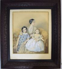 1850 MOTHER & CHILDREN WATERCOLOR MINIATURE PORTRAIT THEODORE SCHLOPKE GERMAN