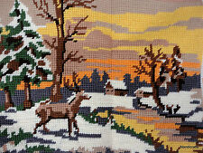 Completed Needlepoint Deer Stag Forest Snow Scene 11x8in Cewec Demark 753-4 Vtg