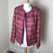 Soon Bright Pink Tweed Style Boucle Jacket Zip Size 14 Blogger UK