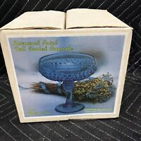 Vintage Indiana Glass Ice Blue Diamond Point Pedestal Compote Candy Dish W/box