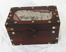 Vintage World Map Design Wooden Box / Trunk / Storage Chest - (B) BNWT