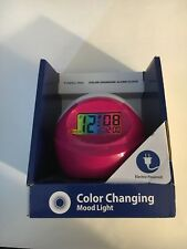 TimeLink Color Changing Electric Alarm Clock w/Press Anywhere Snooze Pink/White*