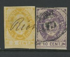 GN STAMPS- COLOMBIA, USED, #37-8, SMALL THIN, 4 MARGINS