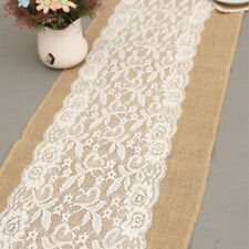 Vintage Hessian Lace Table Runners Burlap Jute Lace Wedding Table Decor 8C