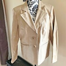 Bradley Bayou QVC Women's Blazer Jacket Tan Snake 100% Leather Coat Size M NWT