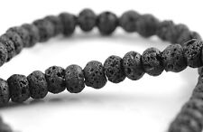 6X4MM BLACK VOLCANIC BASALTIC LAVA GEMSTONE RONDELLE 6X4MM LOOSE BEADS 16""