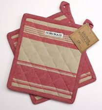 Set of 2 Design Imports FRENCH RED STRIPE Quilted Cotton Pot Holders