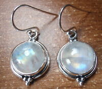 Round Moonstone 925 Sterling Silver Dangle Earrings Corona Sun Jewelry