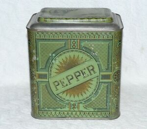 ANTIQUE S. A. ILSLEY CO. STORE COUNTER PEPPER SPICE TIN