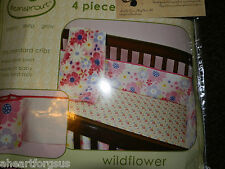 CRIB 4 PC BUMPER PAD SECURE BEANSPROUT WILDFLOWER REVERSIBLE PINK GIRL CHECKER
