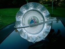 HAMMERED ALUMINUM GOODY GIRLS CENTER  CHINA  PLATE BASKET FARBER & SHLEVIN