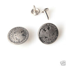 10 sets NO-SEW Replacement Jean Tack Metal Buttons 20mm - Antique silver eagle