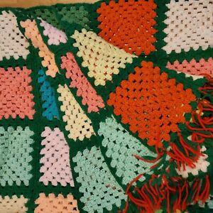 "Vintage Handmade Crochet Granny Square Afghan Throw 48x56"" Green Red Fringe"