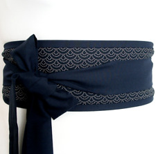 Obi belt dark navy blue indigo seigaiha Japanese pattern for kimono yukata dress
