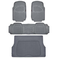 Motor Trend 4 Piece Rubber Floor Mats Set Front Pair Rear Cargo Gray Odorless