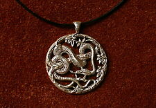 Heavy Sterling silver snake serpent garden scene pendant medal necklace leather