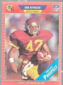 1989 NFL Pro Set Prospect Erik Affholter 522 Green Bay Packers Football Card