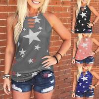 Summer Women Casual Sleeveless Crew Neck Printed T Shirt Loose Tunic Tank Blouse