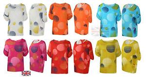 Italian Ladies Cotton Linen Casual Top Women Quirky 2 Pockets Circle Print Dress