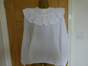 Topshop White Broderie Anglaise Cotton Blouse with Frill Yoke Size 14 Tall BNWOT