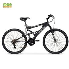 "Aluminum Mountain Bike 21 Speeds Full Suspension 26"" Men Bicycle Shimano Black"