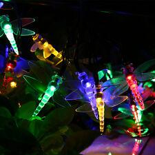 30 LED Solar Lichterkette Libelle Party Außenbeleuchtung Gartendekoration RGB